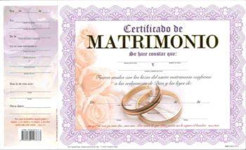 Certificado de Matrimonio pqt. de 15