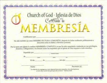 Certificado de Membresía pqt. de 15