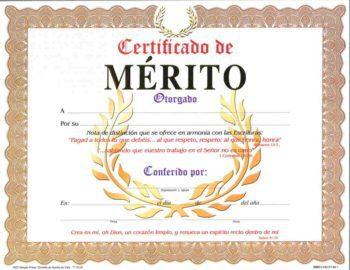 Certificado de Merito pqt. de 15
