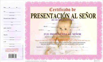 Certificado de Presentacion – Niña pqt. de 15