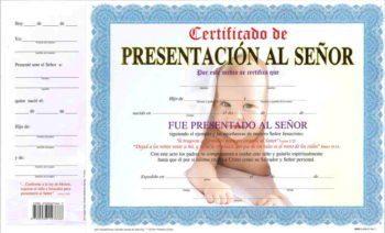 Certificado de Presentacion – Niño pqt. de 15