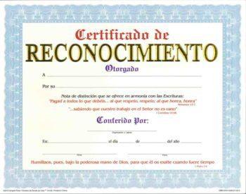 Certificado de Reconocimiento pqt. de 15