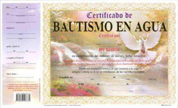 Certificado de Bautismo pqt. de 15