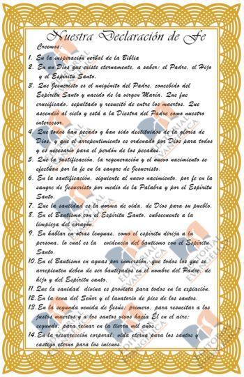 DECLARACION DE FE 8X11